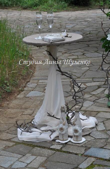 Рустикальная свадьба в парке. Декор столика для росписи.Выездная церемония в стиле рустик в Симферополе и Крыму.