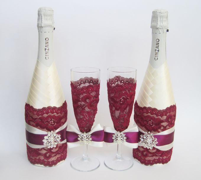 Бутылка на свадьбу своими руками фото в бордовом цвете