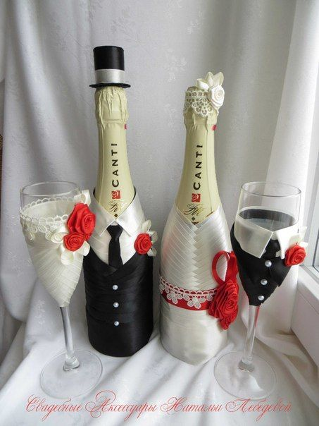 Оформление бокала шампанского на свадьбу своими руками мастер класс