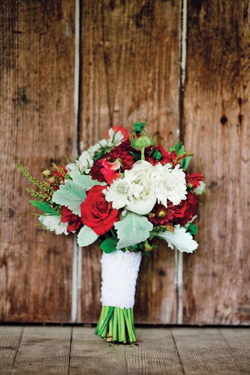 Купить, свадебный букет зелено-красный