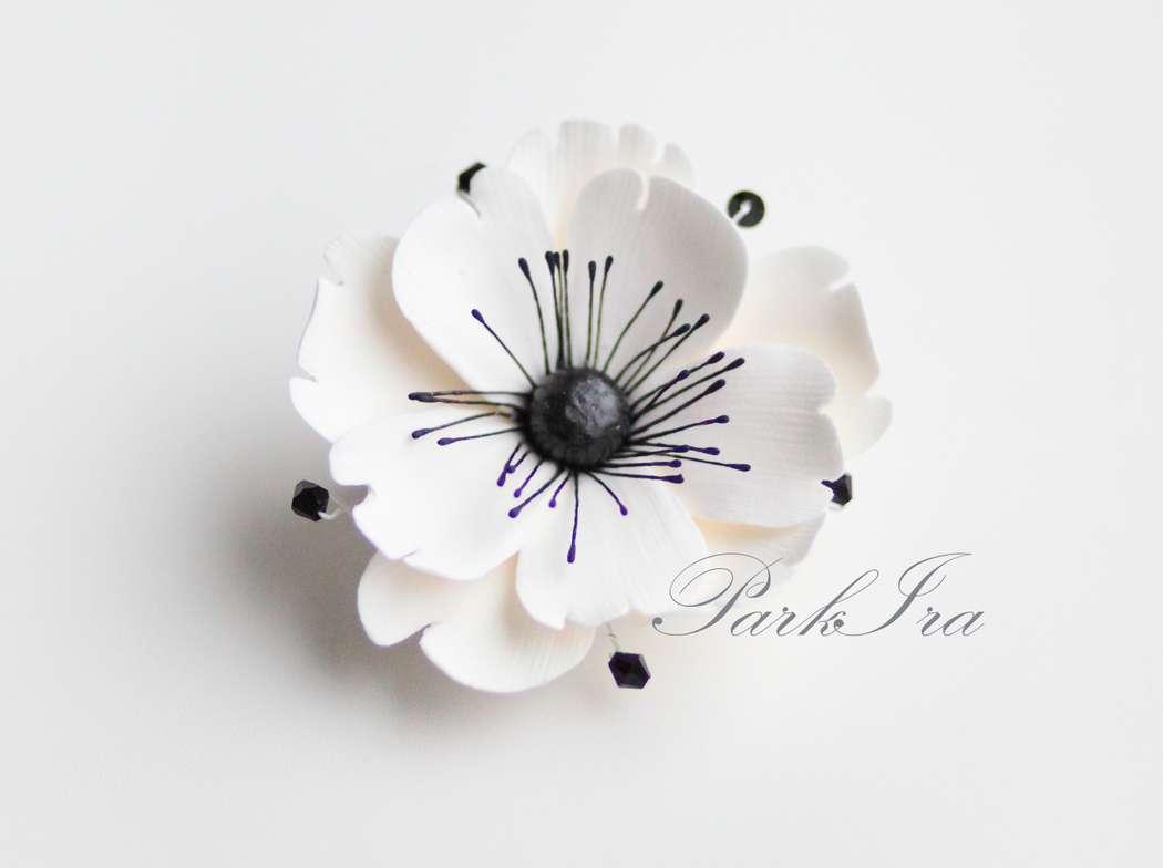 """Заколка-зажим """"Анемон"""" - фото 1317592 ParkIra - украшения цветами из полимерной глины"""