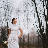 октябрь, осень, невеста в белом