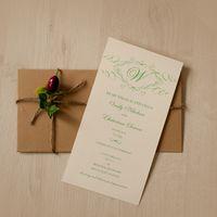 Пригласительные на  свадьбу (дизайнерская бумага, индивидуальный конверт)
