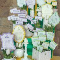 Яркий план рассадки из разноформатных карточек был помещен в вазы со свежей травой и цветами