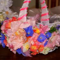 корзинка для нишана, фруктов, ручная работа, оформлена цветами