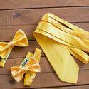 Свадебный комплект: детская и взрослая галстук-бабочки и галстук желтого цвета. Стоимость комплекта - 2990р.  Чтобы заказать пишите в л.с.