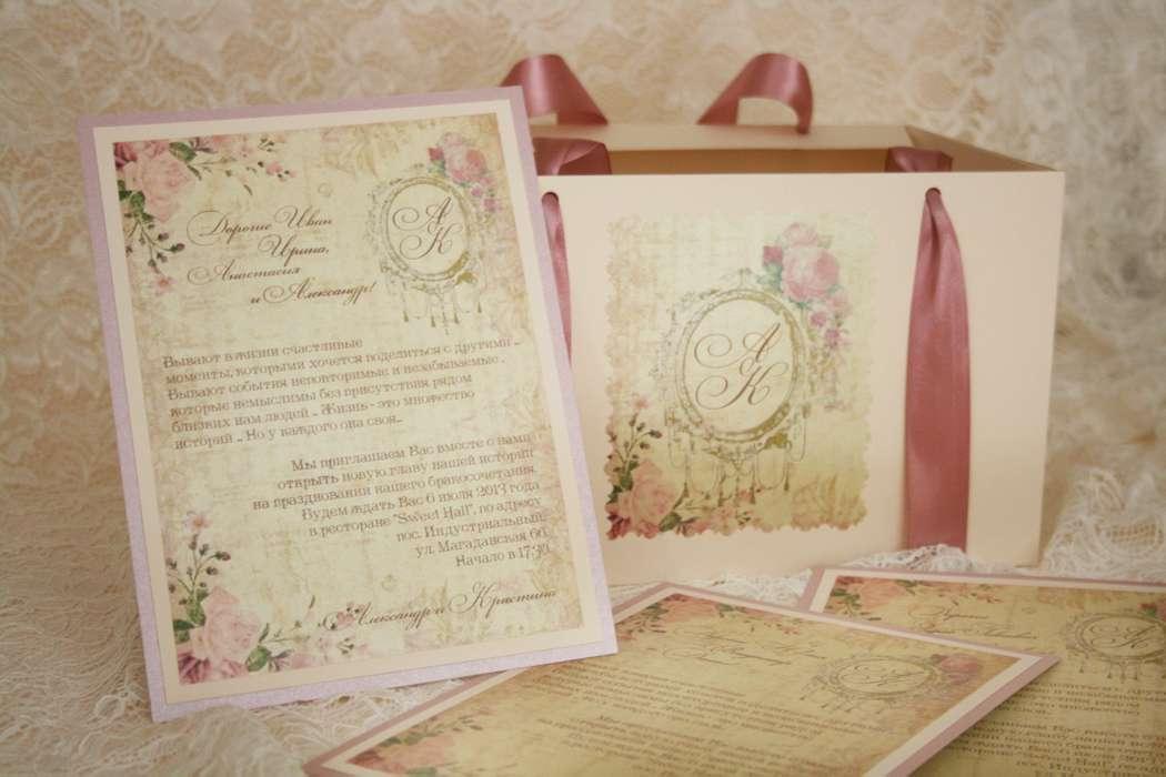 СВАДЕБНОЕ ПРИГЛАШЕНИЕ В СТИЛЕ ШЕББИ-ШИК - фото 1917859 Бутик свадебных аксессуаров Mon Amour
