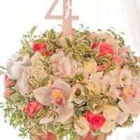 розовая свадьба композиция на стол гостей