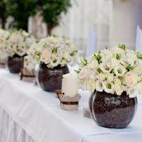 Кофейная свадьба декор стола молодых