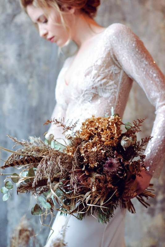 "букет невесты из сухоцветов протеи мака гортензии - фото 17277326 Студия флористики и декора ""Глориоза"""