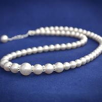 Это ожерелье выполнено из белого жемчуга Сваровски различного размера и посеребренной фурнитуры высокого качества.