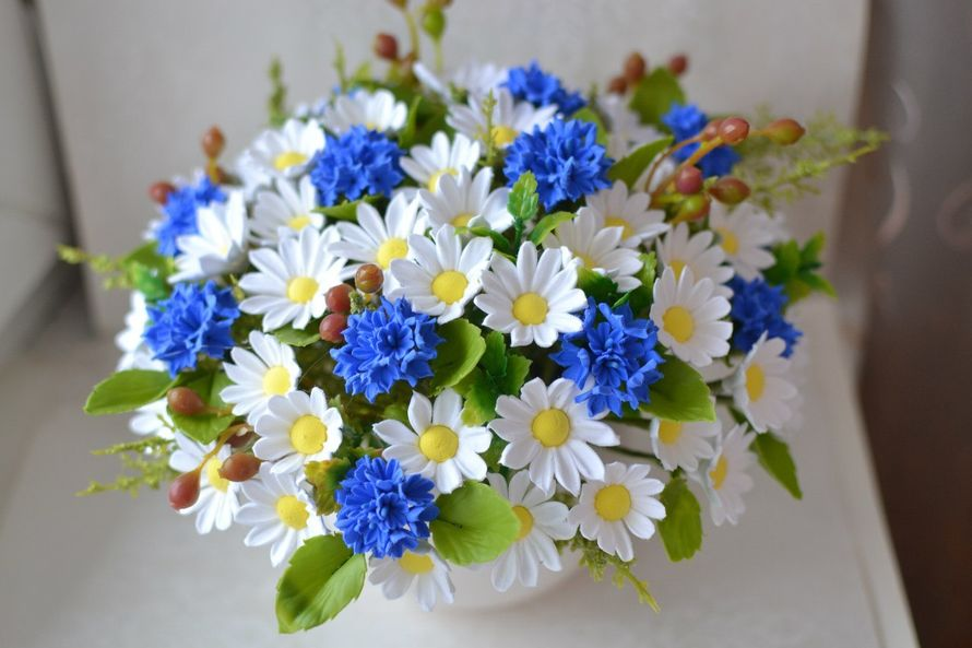 Букет васильков с ромашками и незабудками, доставке цветов