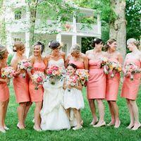 Подружки невесты в коралловом цвете