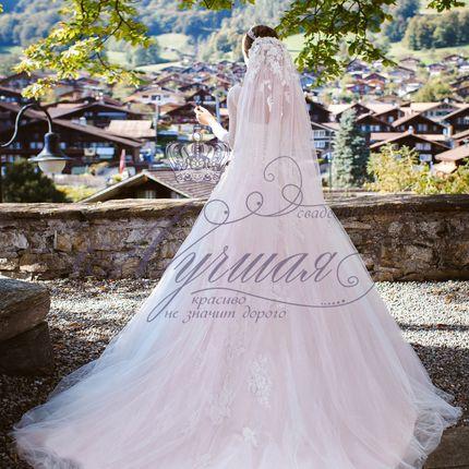 Свадебная фата цвета пудра А1315