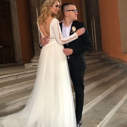 Свадебное платье со шлейфом А1409