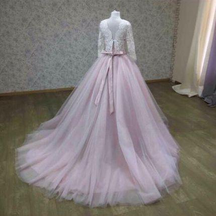 Свадебное платье в пудровом цвете