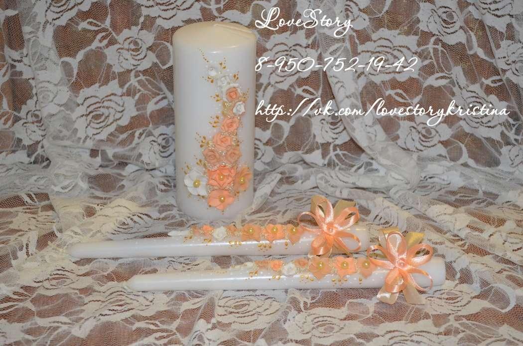 """Свечи """"Аромат"""" в персиковом цвете - фото 4424087 Студия аксессуаров Кристины Тишковой"""