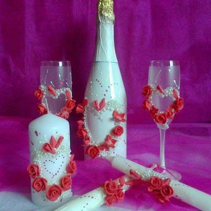 Набор аксессуаров - свечи, бокалы и шампанское