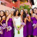 Свадьба в бело-фиолетовом,букеты подружек с орхидеями,подружки невесты в фиолетовом