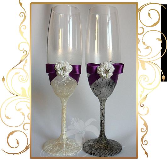 Фото 810001 в коллекции Свадебные бокалы, шампанское, подушечки для колец - Кнауб Ольга - Свадебные аксессуары