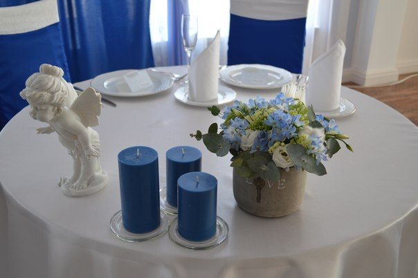 Букет из белых эустом, голубой нигеллы, вибурнума и эвкалипта в горшке.  - фото 2537013 Барбарис studio - студия флористики, декора