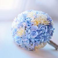 Круглый букет невесты из голубых гортензий и белых гвоздик