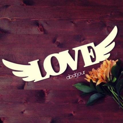 Слово из дерева Любовь с крыльями