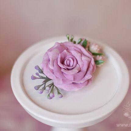 Заколка для волос с розовыми цветами