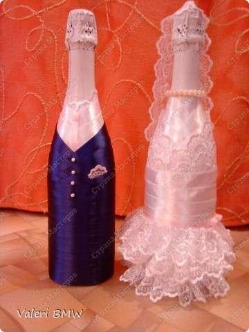 Свадебное украшение бутылок своими руками мастер класс
