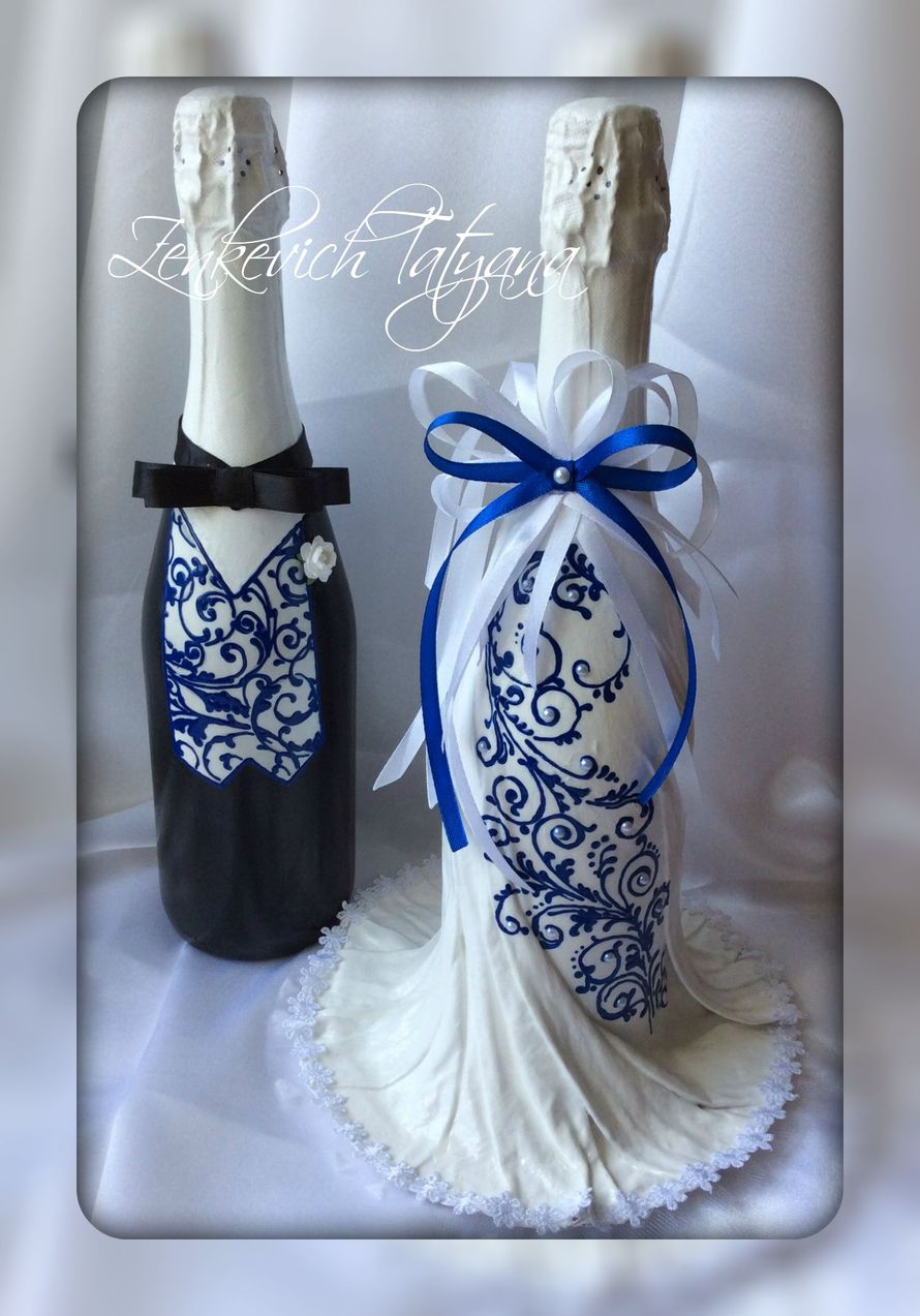 Фото 2734217 в коллекции Свадебное шампанское - Мастер Татьяна Зенькевич, аксессуары ручной работы