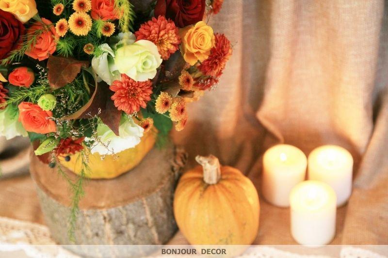 Букет из оранжевых и бордовых хризантем, амаранта, оранжевой веточной хризантемы, лизиантуса, желтых и коралловых роз, плюмозуса, - фото 3606711 Bonjour decor - студия авторского декора