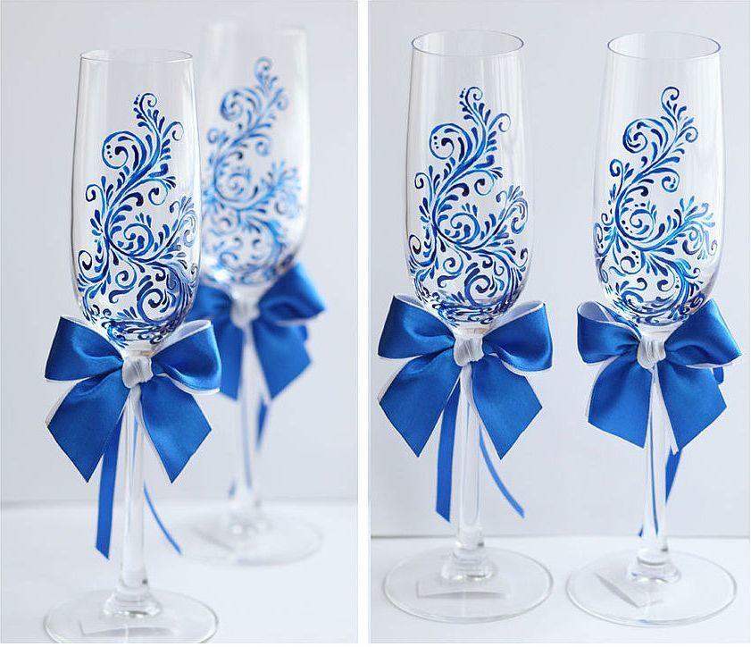 Роспись бокалов к свадьбе своими руками