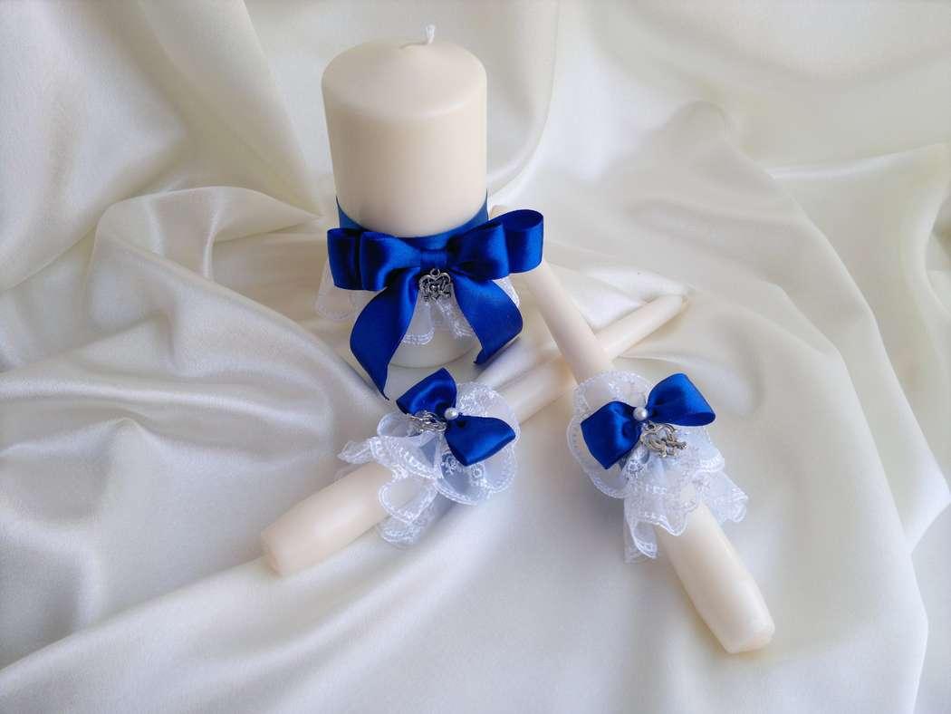 Свеча на свадьбу из лент фото