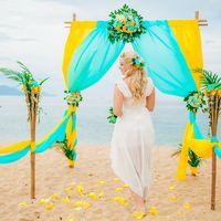 свадебная церемония в Нячанге, свадебная фотосессия с цветочной аркой