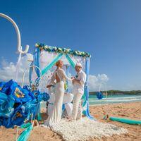 Цветочные шары для беседки в морских тонах