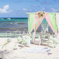 свадебная беседка в салатово-розовых тонах