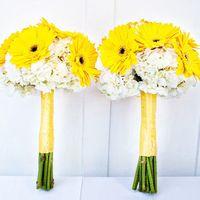 Букет невесты из желтых гербер и белых гортензий