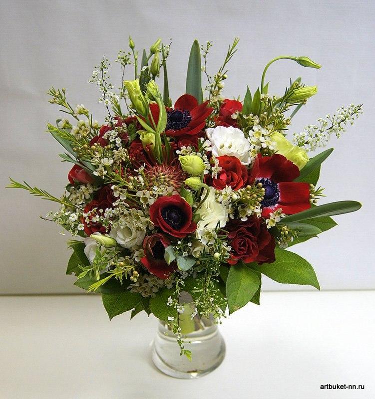 Анемоны как сердца влюбенных пылают страстным огнем, яркий свадебный букетик - фото 3173275 Артбукет - флористика
