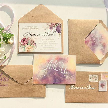 """Приглашения на свадьбу """"Акварельные оригами"""""""