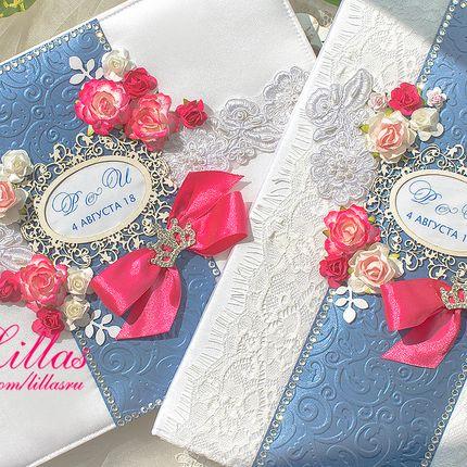 Книга пожеланий в цвете фуксия и синий