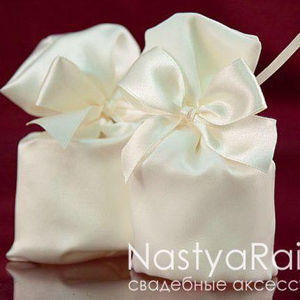 Атласный мешочек для конфет айвори
