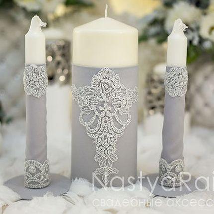 Набор свечей для семейного очага серебро