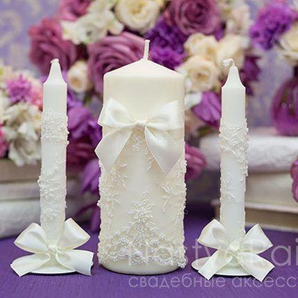 Свадебные свечи с кружевом Париж