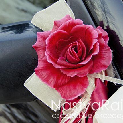 Банты на ручки автомобиля Бордо/Айвори
