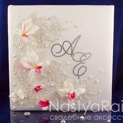 Кружевной фотоальбом с орхидеями, магнитный
