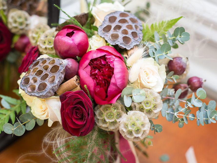 """Свадебный букет, марсала.  Студия """"Настя Рай"""" - фото 12558048 """"Настя Рай"""" - платья, аксессуары, цветы и декор"""