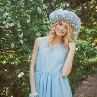 Вот такой венок и браслет мы делали в цветение) Подружка невесты в голубом