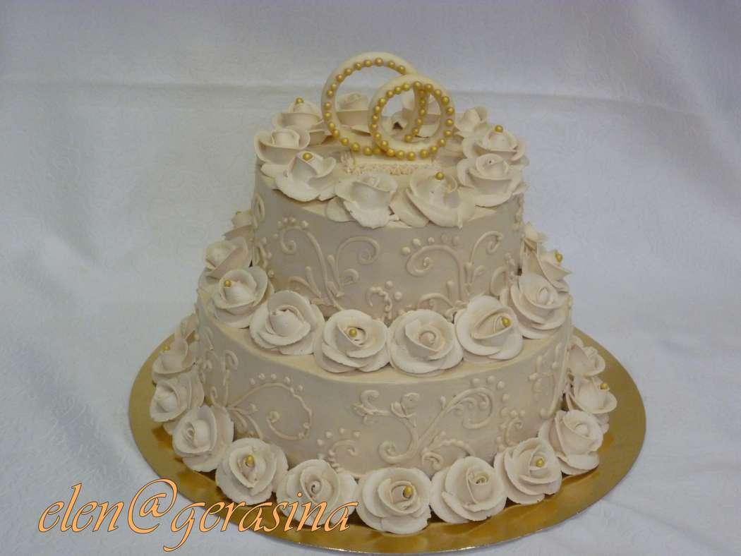 Украшение свадебных тортов кремом фото