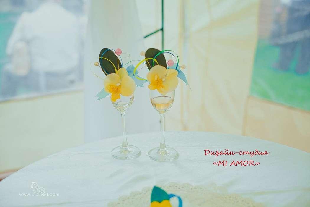 """съемные украшения на бокалы для молодоженов - фото 2435035 Дизайн-студия """"Mi Amor"""" - свадебные аксессуары"""