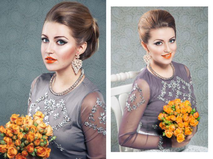 """Такой яркий макияж вкупе с сиянием кристаллов не выглядит """"слишком"""" благодаря стильной гладкой прическе."""